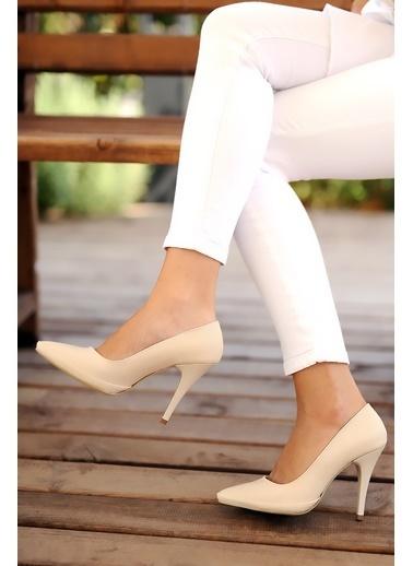 Pembe Potin A567-19 Kadın Topuklu Ayakkabı Ten